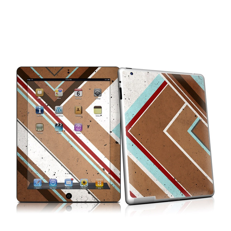 iPad 2nd Gen Skin design of Wood stain, Pattern, Line, Wood, Brown, Floor, Wall, Design, Hardwood, Flooring with brown, blue, red, white colors