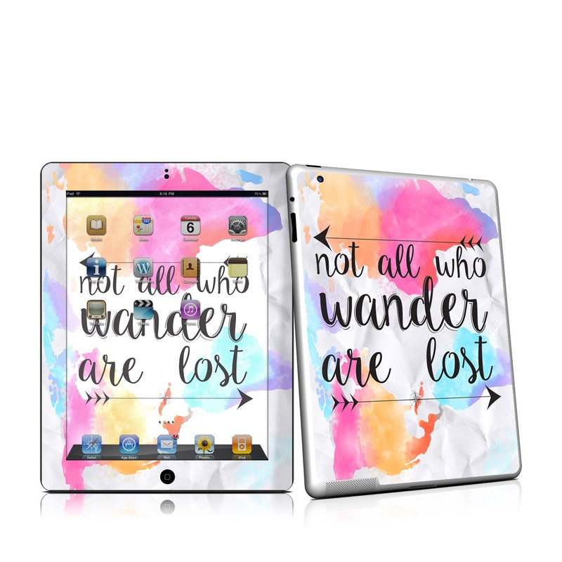 iPad 2nd Gen Skin design of Font, Text, Calligraphy, Graphics with black, white, orange, pink, red, blue, purple, yellow colors