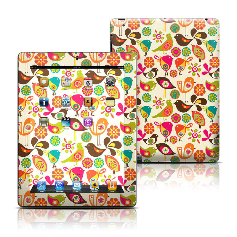 iPad 3rd & 4th Gen Skin design of Pattern, Visual arts, Wrapping paper, Design, Clip art, Textile, Motif, Sticker, Graphics with yellow, pink, orange, green, brown, blue colors