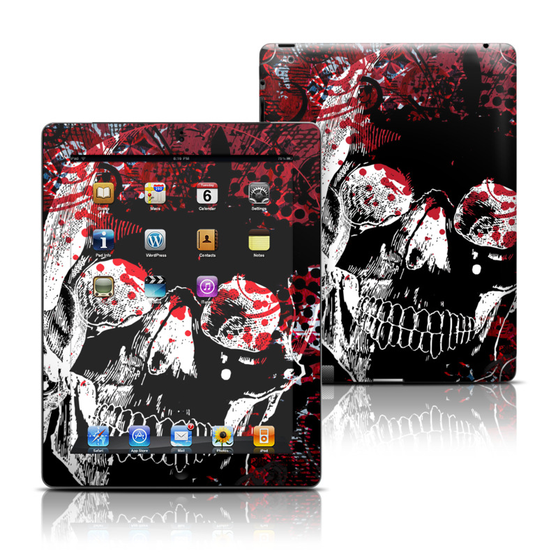 iPad 3rd & 4th Gen Skin design of Graphic design, Illustration, Poster, Design, Art, Fictional character, Font, Graphics, Pattern, Album cover with black, red, white colors