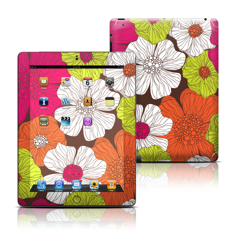 iPad 3rd & 4th Gen Skin design of Flower, Floral design, Pattern, Plant, Botany, Design, Petal, Textile, Visual arts, Wildflower with brown, orange, pink, white, green colors