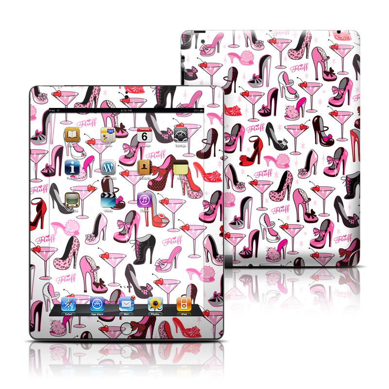 iPad 3rd & 4th Gen Skin design of Pink, Footwear, High heels, Clip art, Line, Font, Design, Shoe, Graphics with white, pink, black, red colors