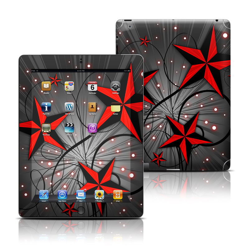 iPad 3rd & 4th Gen Skin design of Red, Star, Astronomical object, Sky, Pattern, Space, Illustration, Graphic design with black, red, white colors