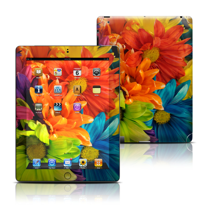 iPad 3rd & 4th Gen Skin design of Flower, Petal, Orange, Cut flowers, Yellow, Plant, Bouquet, Floral design, Flowering plant, Gerbera with red, green, black, blue colors