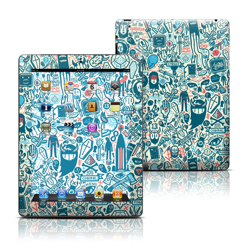iPad 3rd & 4th Gen Skin design of Pattern, Psychedelic art, Turquoise, Art, Design, Visual arts, Line, Drawing, Doodle, Graphic design with white, green, blue, red colors