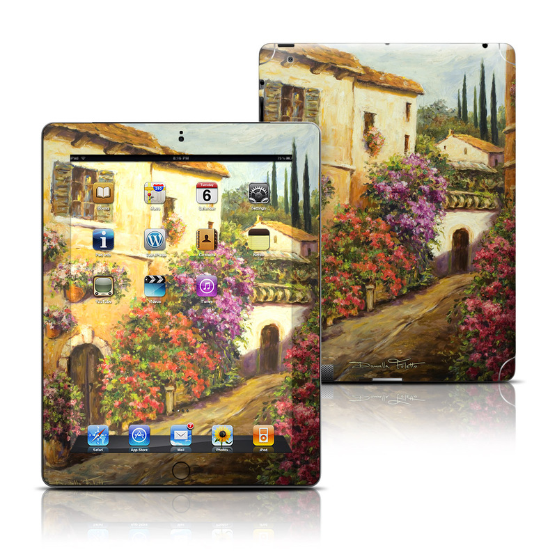 iPad 3rd & 4th Gen Skin design of Painting, Flower, Watercolor paint, Floristry, Plant, Spring, Still life, Art, Bougainvillea, Still life photography with black, red, green, gray, orange colors
