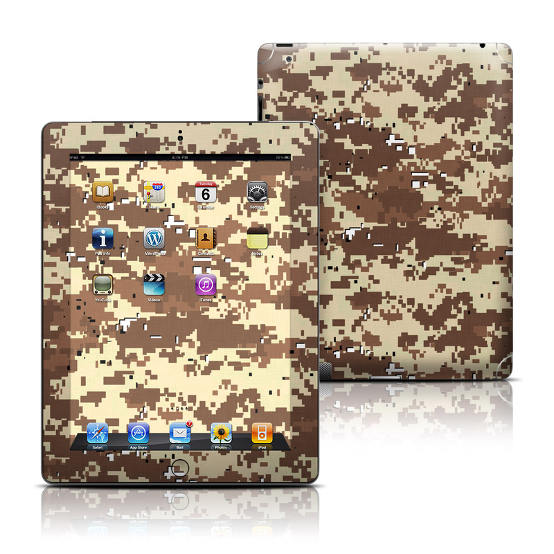 iPad 3rd & 4th Gen Skin design of Military camouflage, Camouflage, Pattern, Brown, Uniform, Design, Textile, Beige, Metal with black, gray, red, green colors
