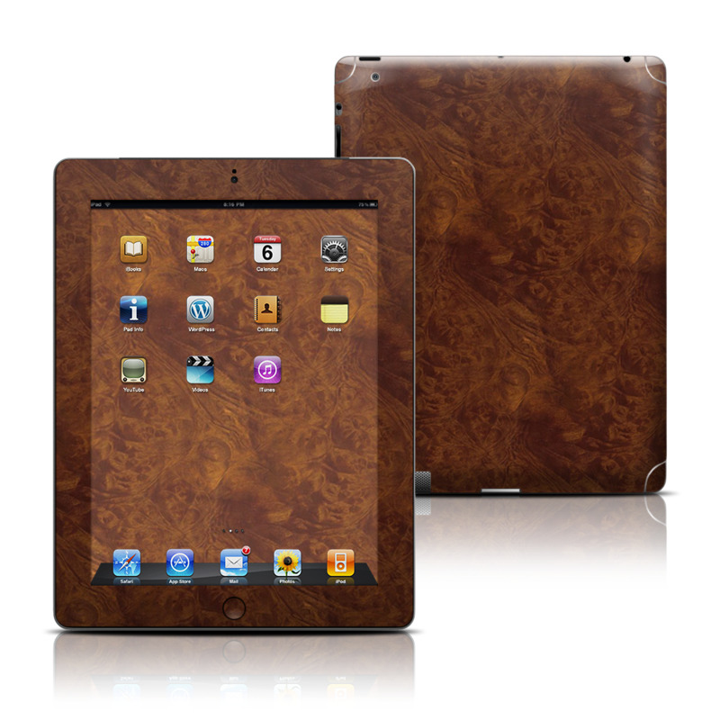 Dark Burlwood Apple iPad Skin