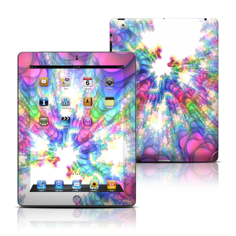 iPad 3rd & 4th Gen Skin design of Fractal art, Psychedelic art, Purple, Colorfulness, Art, Graphic design, Pattern, Graphics, Artwork, Symmetry with gray, white, blue, purple, pink colors