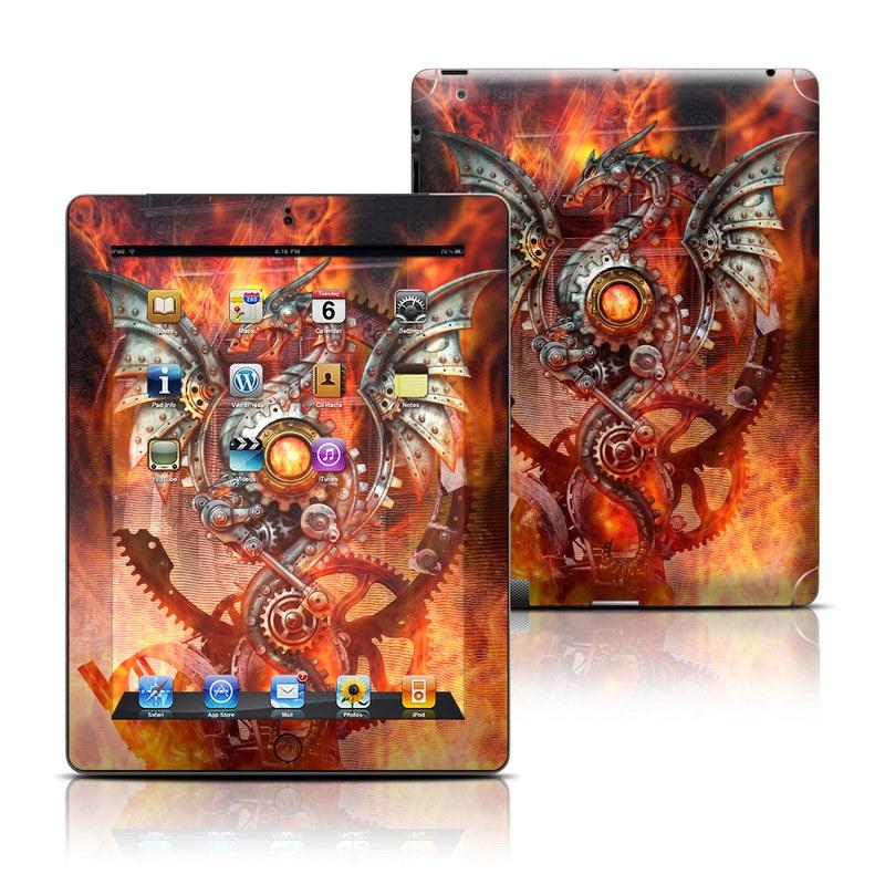 iPad 3rd & 4th Gen Skin design of Dragon, Demon, Cg artwork, Illustration, Fictional character, Fractal art, Flame, Art, Mythology, Supernatural creature with red, black, orange, pink, green colors