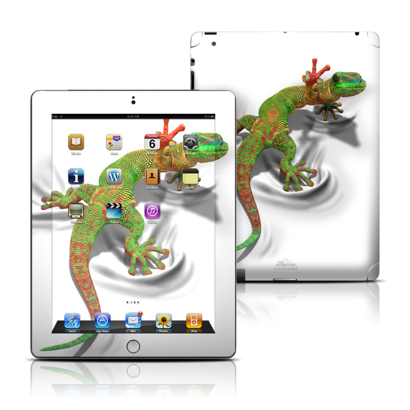 iPad 3rd & 4th Gen Skin design of Lizard, Reptile, Gecko, Scaled reptile, Green, Iguania, Animal figure, Wall lizard, Fictional character, Iguanidae with white, gray, black, red, green colors