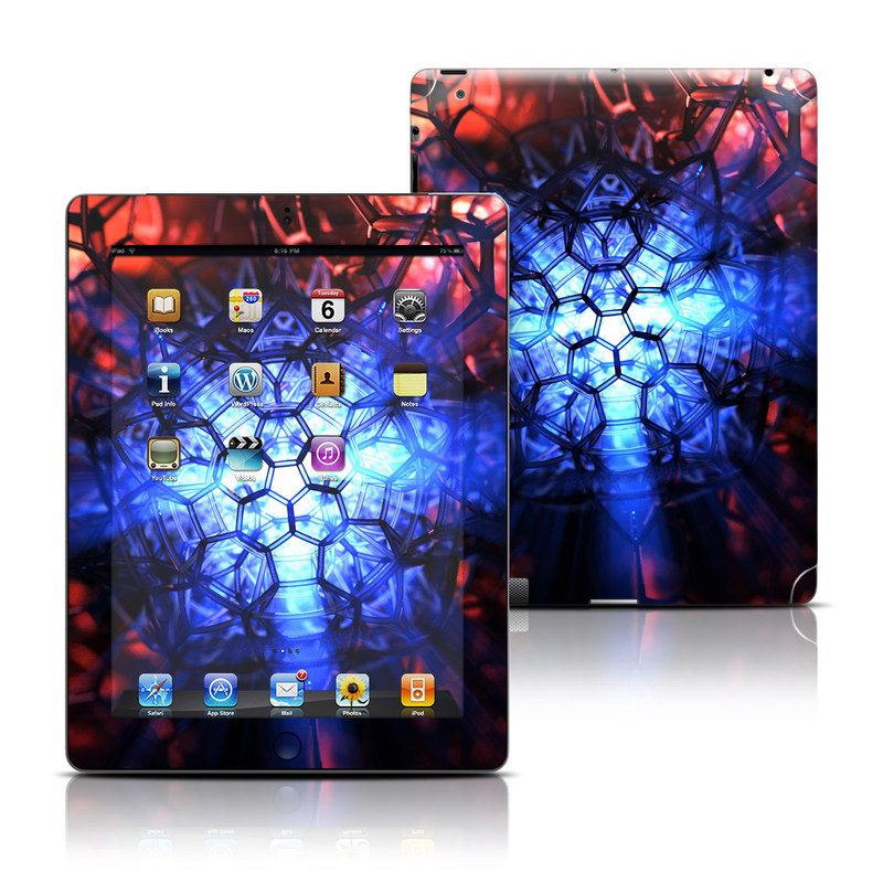 iPad 3rd & 4th Gen Skin design of Blue, Fractal art, Red, Light, Pattern, Lighting, Art, Kaleidoscope, Design, Psychedelic art with black, blue, red colors