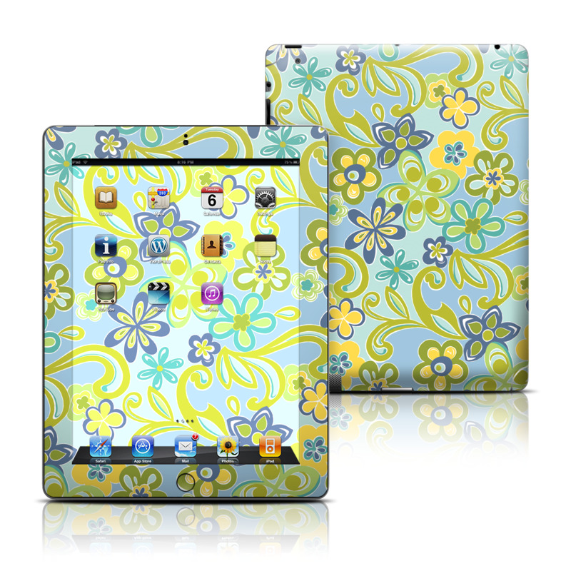 Hippie Flowers Blue iPad 3rd & 4th Gen Skin
