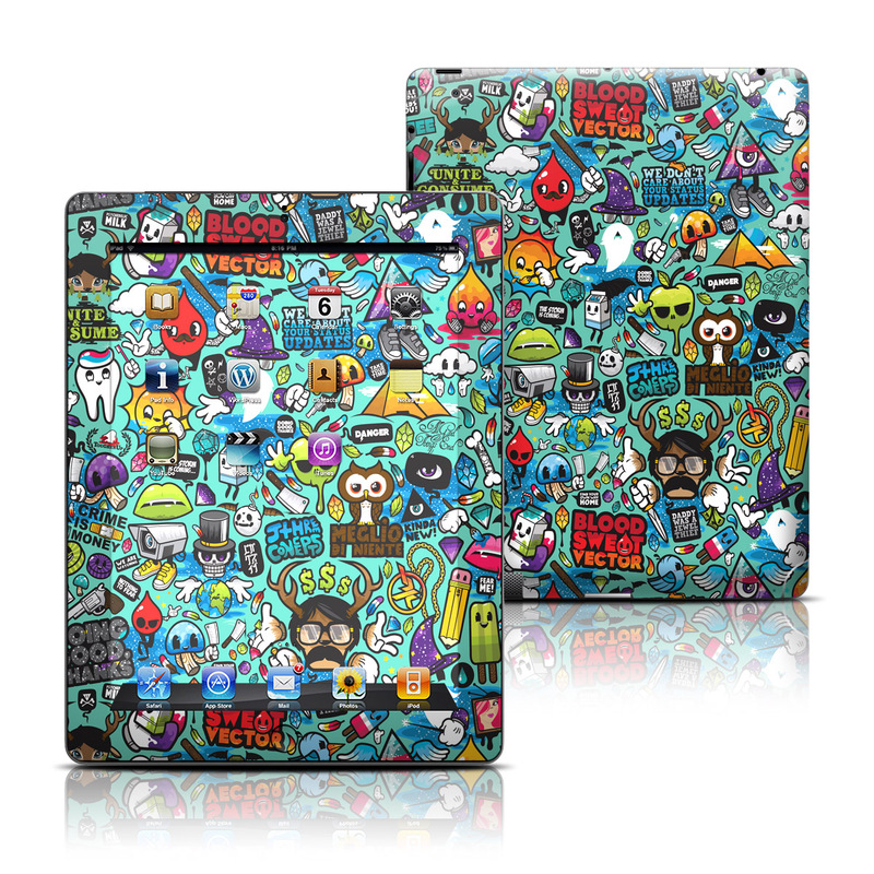iPad 3rd & 4th Gen Skin design of Cartoon, Art, Pattern, Design, Illustration, Visual arts, Doodle, Psychedelic art with black, blue, gray, red, green colors