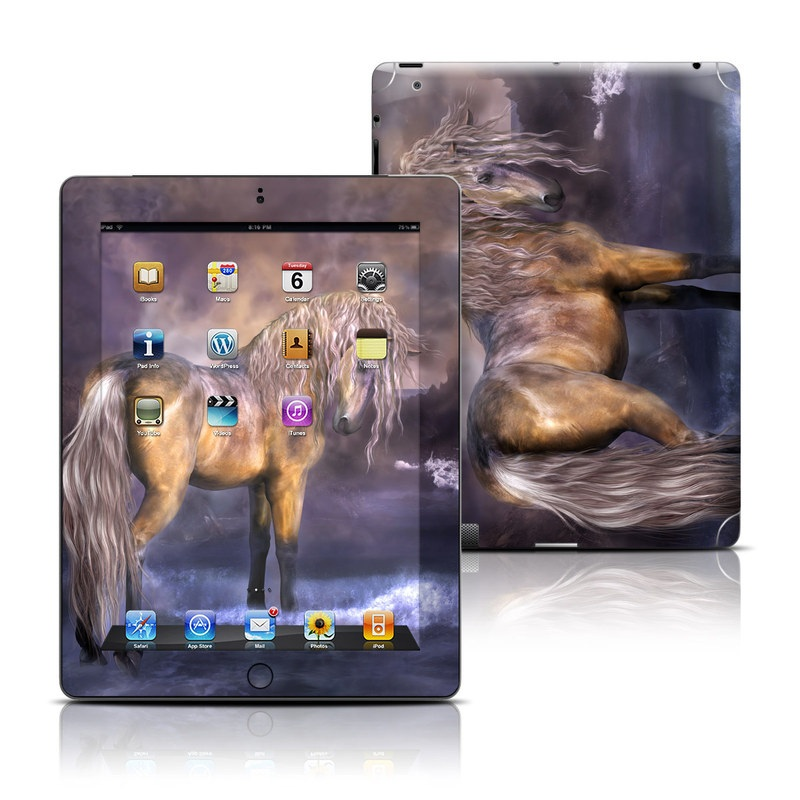 iPad 3rd & 4th Gen Skin design of Horse, Mane, Stallion, Mustang horse, Fictional character, Mare, Painting, Wildlife, Mythical creature with black, gray, red, blue, green colors