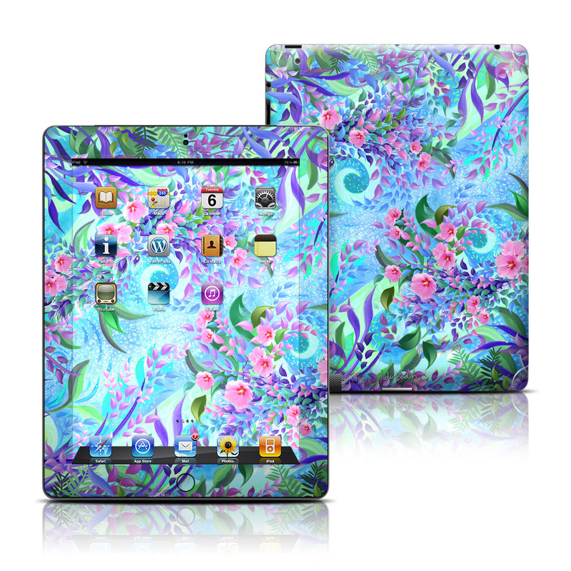 iPad 3rd & 4th Gen Skin design of Psychedelic art, Pattern, Lilac, Purple, Art, Pink, Design, Fractal art, Visual arts, Organism with gray, blue, purple colors