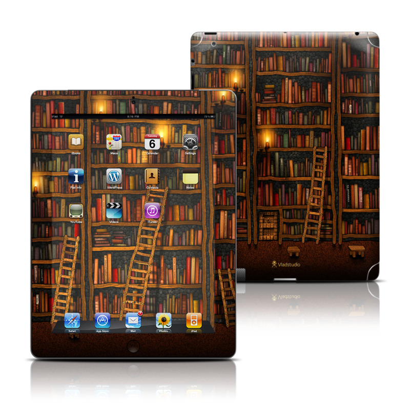 iPad 3rd & 4th Gen Skin design of Shelving, Library, Bookcase, Shelf, Furniture, Book, Building, Publication, Room, Darkness with black, red colors