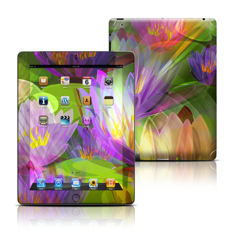 iPad 3rd & 4th Gen Skin design of Flowering plant, Flower, Petal, Violet, Aquatic plant, Purple, water lily, Plant, Botany, Close-up with gray, green, black, purple, red colors