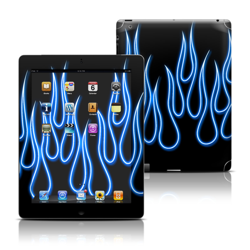 Blue Neon Flames Apple iPad Skin