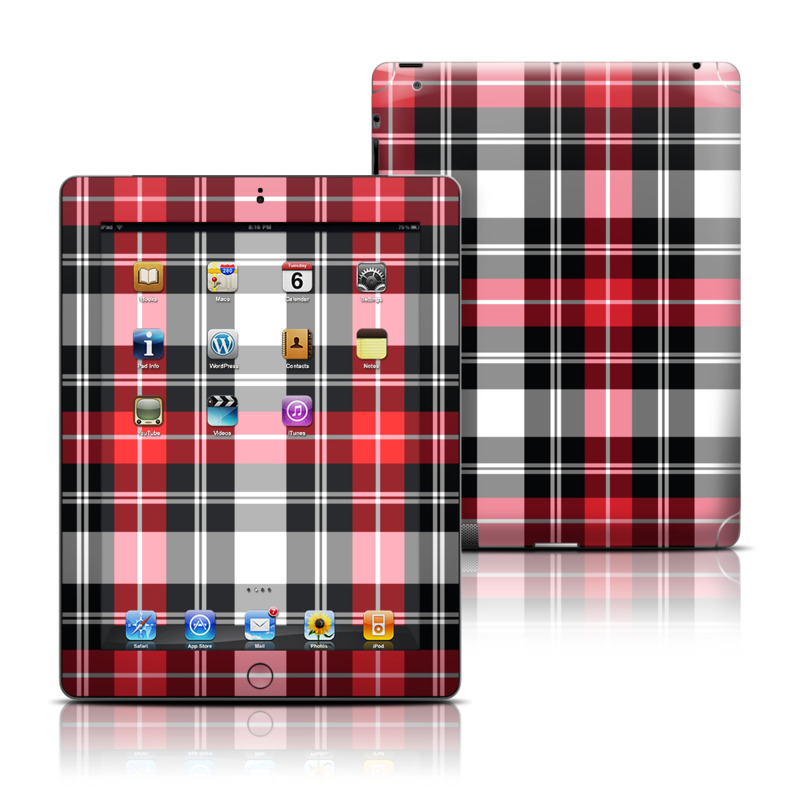 iPad 3rd & 4th Gen Skin design of Plaid, Tartan, Pattern, Red, Textile, Design, Line, Pink, Magenta, Square with black, gray, pink, red, white colors