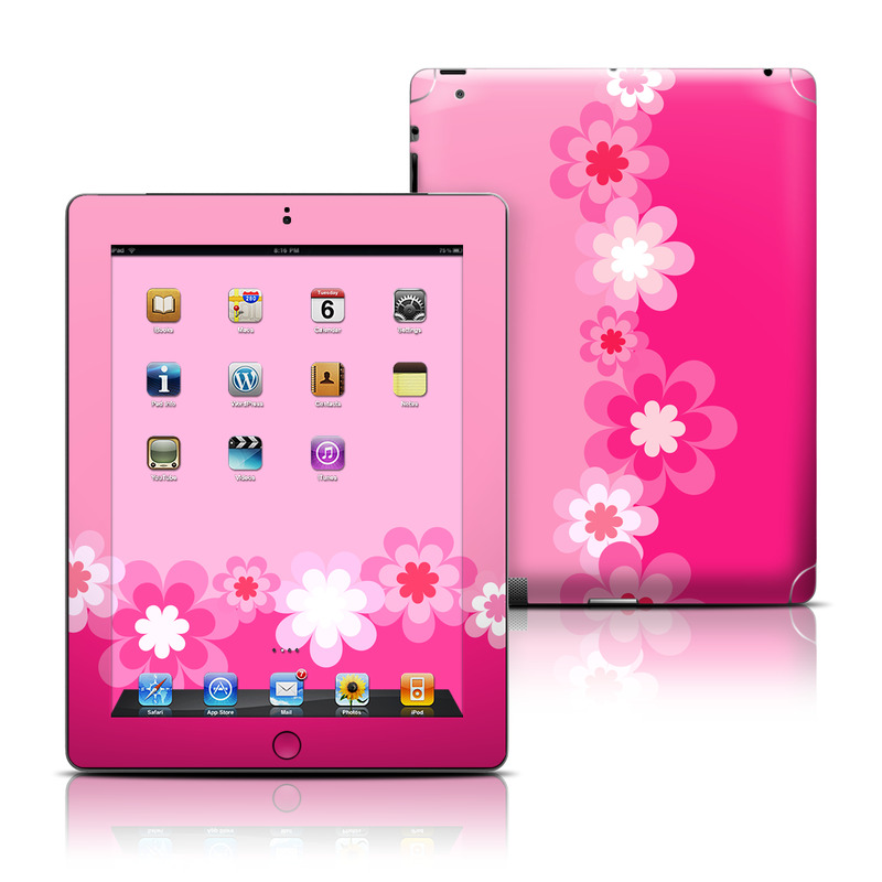 Retro Pink Flowers Apple iPad Skin