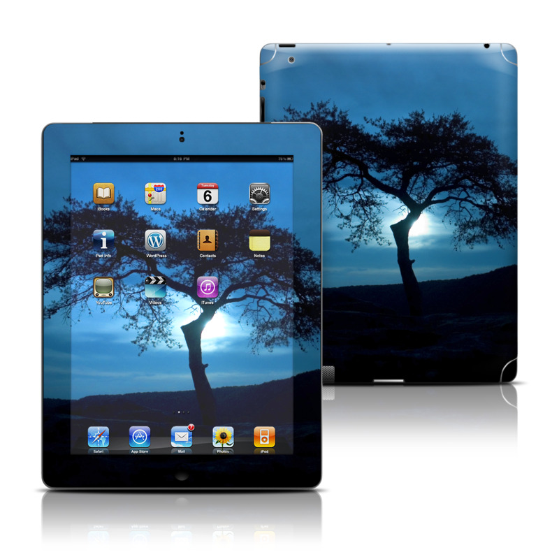 iPad 3rd & 4th Gen Skin design of Sky, Tree, Nature, Natural landscape, Blue, Horizon, Branch, Woody plant, Dusk, Savanna with black, blue, gray colors