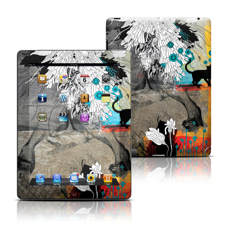 iPad 3rd & 4th Gen Skin design of Feather, Illustration, Art, Graphic design, Visual arts, Modern art, Plant, Acrylic paint, Painting, Watercolor paint with gray, black, white, blue, green, orange colors