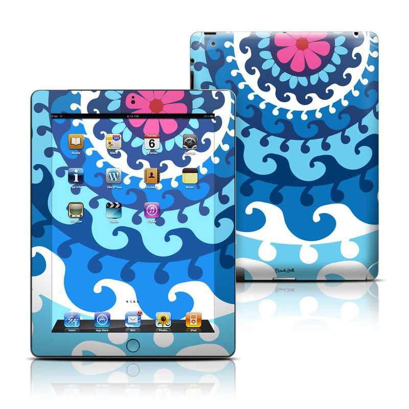iPad 3rd & 4th Gen Skin design of Pattern, Circle, Visual arts, Design, Psychedelic art, Textile, Graphic design, Art, Illustration, Kaleidoscope with white, blue, pink colors