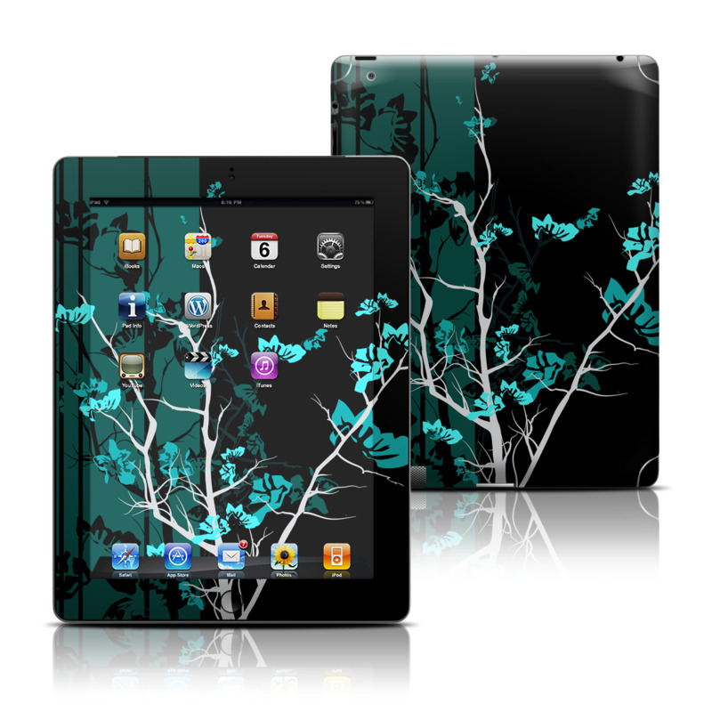 iPad 3rd & 4th Gen Skin design of Branch, Black, Blue, Green, Turquoise, Teal, Tree, Plant, Graphic design, Twig with black, blue, gray colors