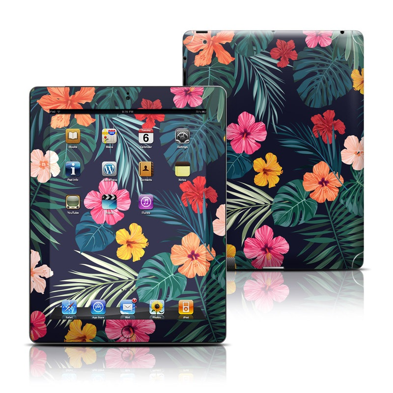 iPad 3rd & 4th Gen Skin design of Hawaiian hibiscus, Flower, Pattern, Plant, Leaf, Floral design, Botany, Design, Hibiscus, Petal with black, green, red, pink, orange, yellow, white colors