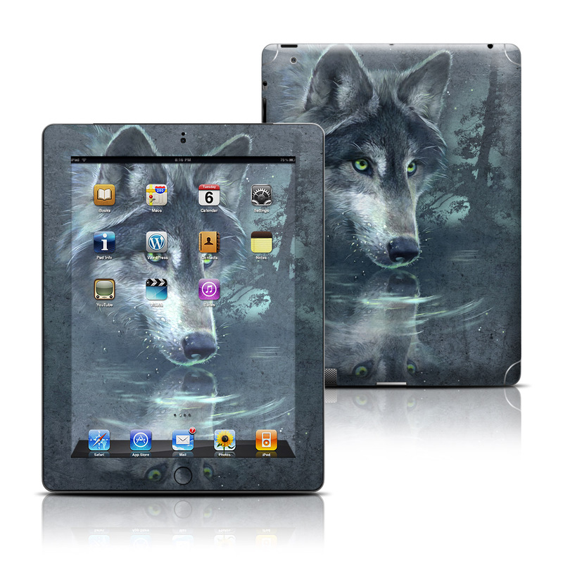 iPad 3rd & 4th Gen Skin design of Wolf, Canidae, Wildlife, Red wolf, Canis, canis lupus tundrarum, Snout, Saarloos wolfdog, Wolfdog, Carnivore with black, gray, blue colors