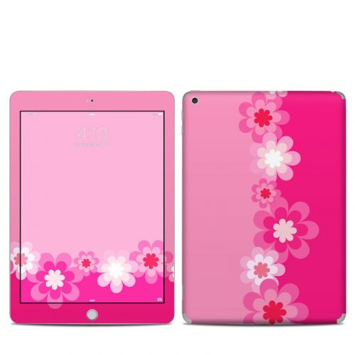 Retro Pink Flowers iPad 5th Gen Skin