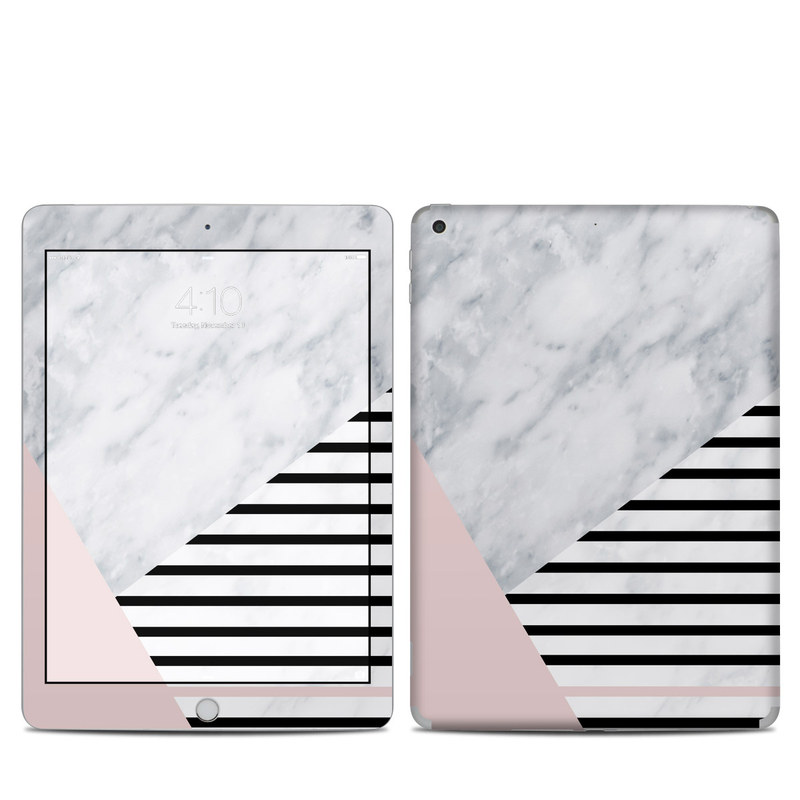 iPad 5th Gen Skin design of White, Line, Architecture, Stairs, Parallel with gray, black, white, pink colors