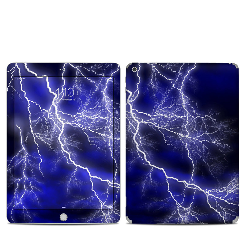 iPad 5th Gen Skin design of Thunder, Lightning, Thunderstorm, Sky, Nature, Electric blue, Atmosphere, Daytime, Blue, Atmospheric phenomenon with blue, black, white colors