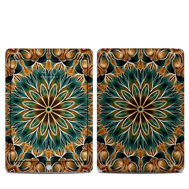 iPad 5th Gen Skin design of Pattern, Symmetry, Textile, Art, Psychedelic art, Tapestry, Design, Visual arts, Kaleidoscope, Motif with green, orange, yellow, brown, red colors