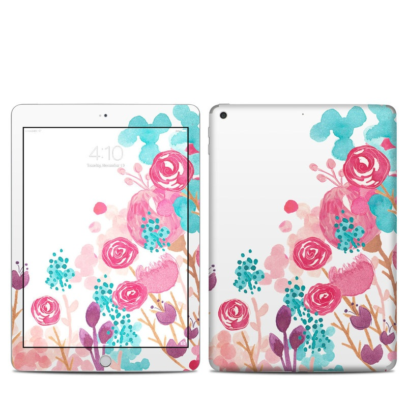 iPad 5th Gen Skin design of Pink, Pattern, Design, Illustration, Clip art, Plant, Graphics, Art with white, pink, purple, blue, red colors