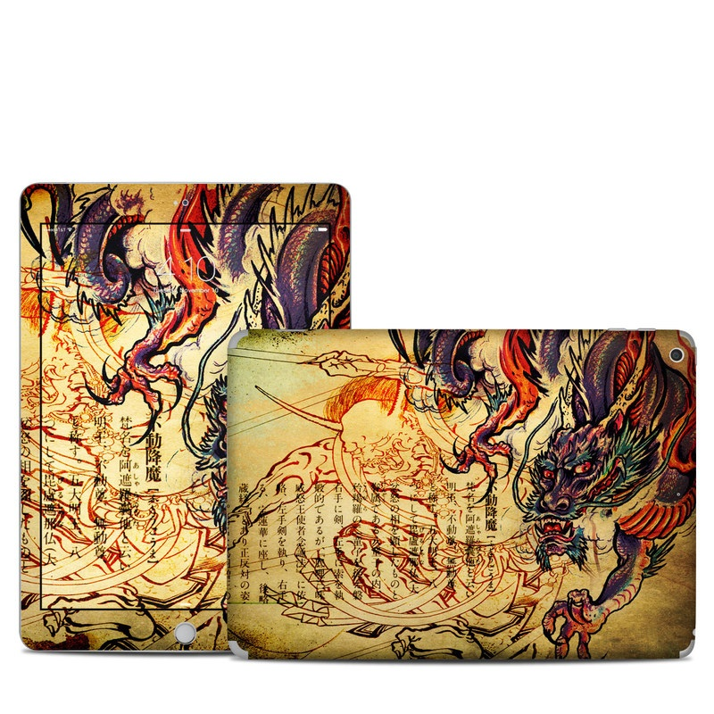iPad 5th Gen Skin design of Illustration, Fictional character, Art, Demon, Drawing, Visual arts, Dragon, Supernatural creature, Mythical creature, Mythology with black, green, red, gray, pink, orange colors