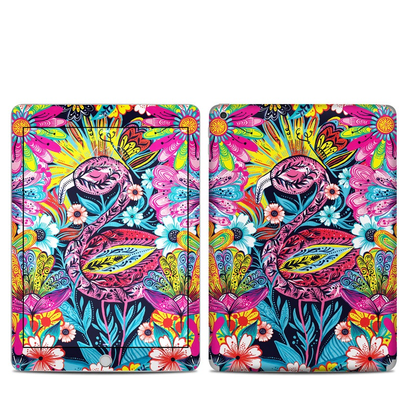 iPad 5th Gen Skin design of Psychedelic art, Pattern, Visual arts, Art, Design, Textile, Illustration, Plant, Graphic design, Drawing with pink, yellow, black, blue, white colors