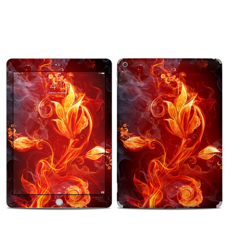 iPad 5th Gen Skin design of Flame, Fire, Heat, Red, Orange, Fractal art, Graphic design, Geological phenomenon, Design, Organism with black, red, orange colors