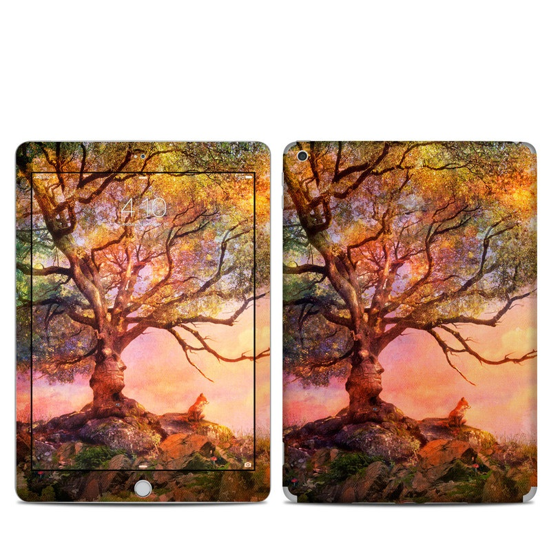 iPad 5th Gen Skin design of Nature, Tree, Sky, Natural landscape, Branch, Leaf, Woody plant, Trunk, Landscape, Plant with pink, red, black, green, gray, orange colors