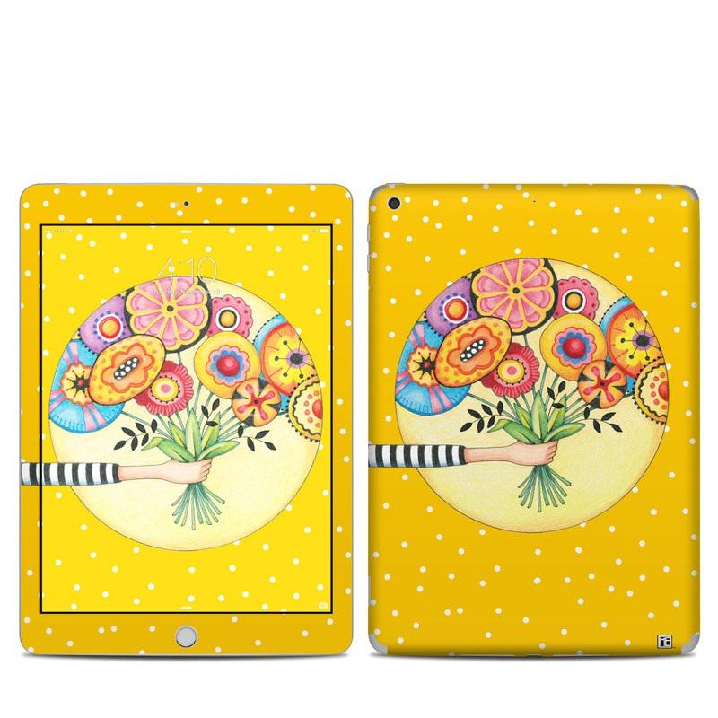 iPad 5th Gen Skin design of Circle, Illustration, Clip art, Plant with orange, yellow, pink, gray, green, black colors