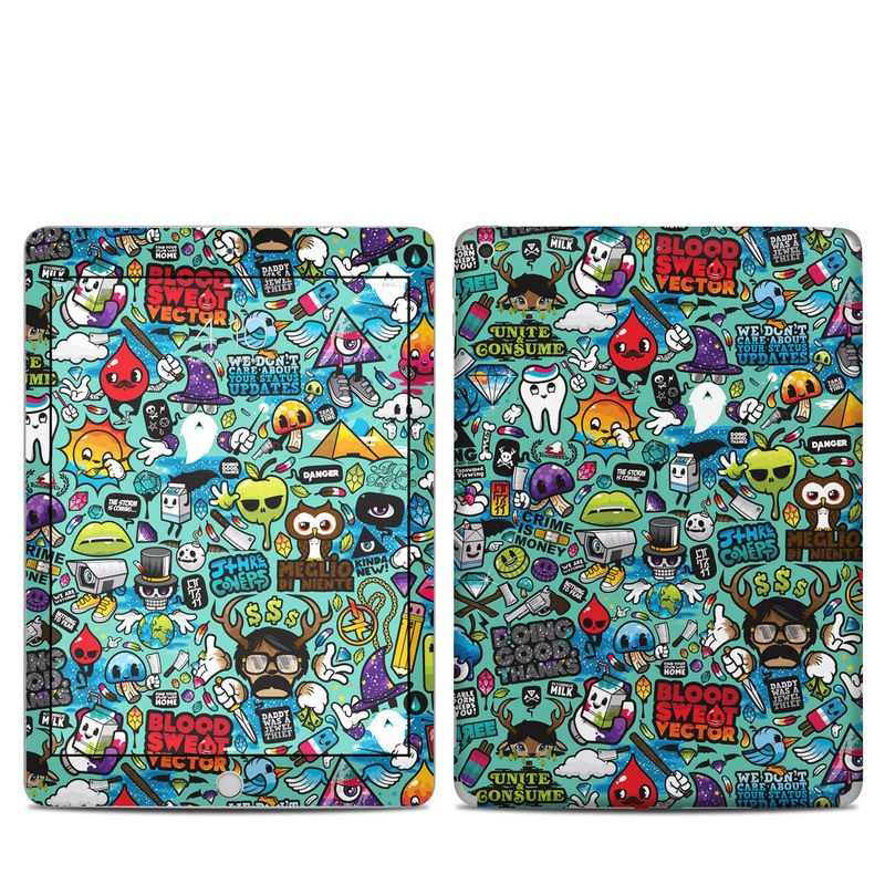 iPad 5th Gen Skin design of Cartoon, Art, Pattern, Design, Illustration, Visual arts, Doodle, Psychedelic art with black, blue, gray, red, green colors