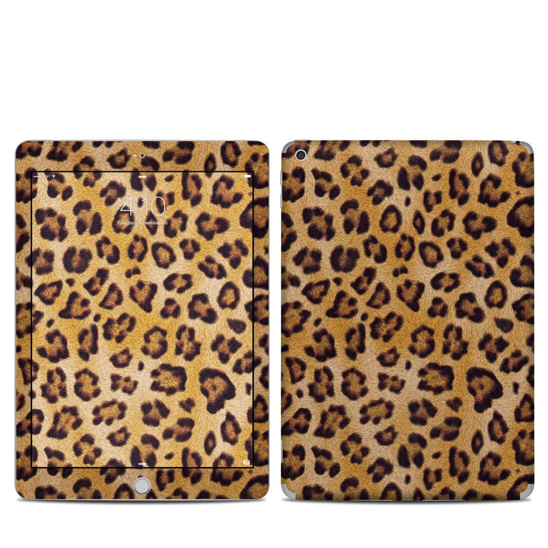 iPad 5th Gen Skin design of Pattern, Felidae, Fur, Brown, Design, Terrestrial animal, Close-up, Big cats, African leopard, Organism with orange, black colors