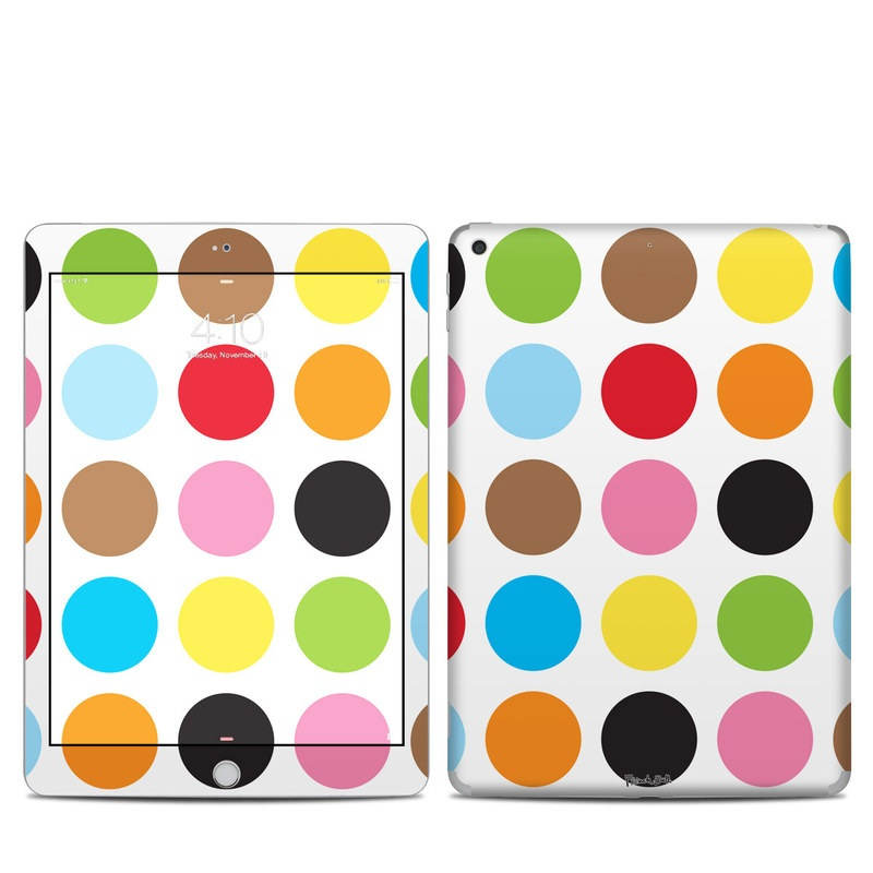 iPad 5th Gen Skin design of Pattern, Polka dot, Circle, Yellow, Colorfulness, Design, Clip art, Graphics with white, orange, green, pink, purple, black colors