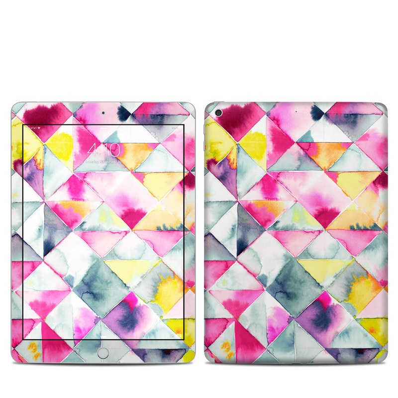 iPad 5th Gen Skin design of Pattern, Line, Textile, Design, Triangle, Symmetry, Square with white, gray, blue, pink, purple, yellow, orange, red colors