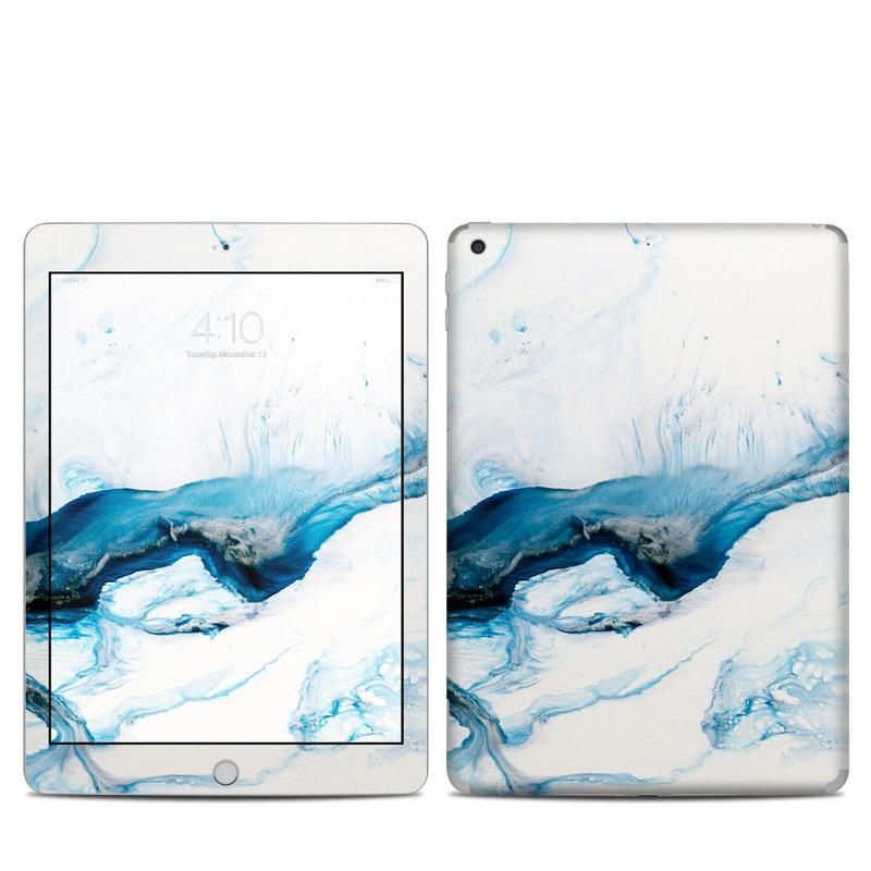 iPad 5th Gen Skin design of Glacial landform, Blue, Water, Glacier, Sky, Arctic, Ice cap, Watercolor paint, Drawing, Art with white, blue, black colors