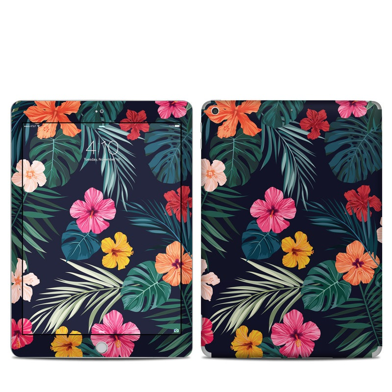 iPad 5th Gen Skin design of Hawaiian hibiscus, Flower, Pattern, Plant, Leaf, Floral design, Botany, Design, Hibiscus, Petal with black, green, red, pink, orange, yellow, white colors