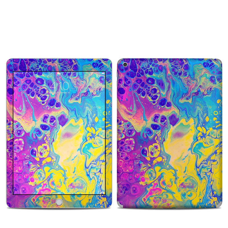 iPad 5th Gen Skin design of Psychedelic art, Pattern, Purple, Visual arts, Design, Art, Fractal art, Electric blue, Graphic design, Graphics with blue, yellow, purple, pink colors