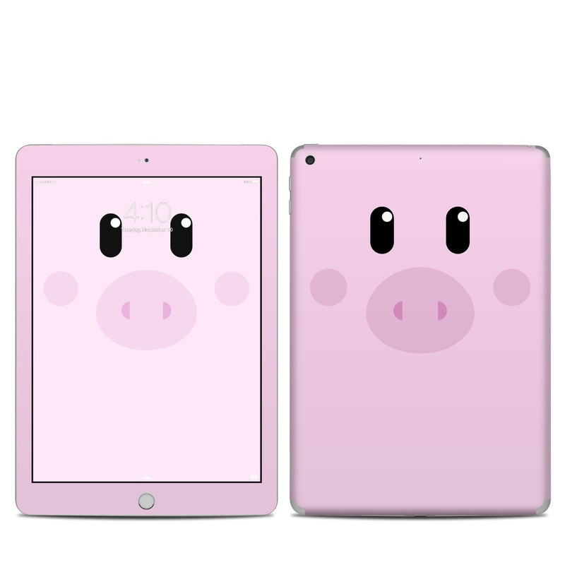 iPad 5th Gen Skin design of Pink, Cartoon, Violet, Nose, Purple, Snout, Suidae, Material property, Illustration, Animation with pink, black, white colors