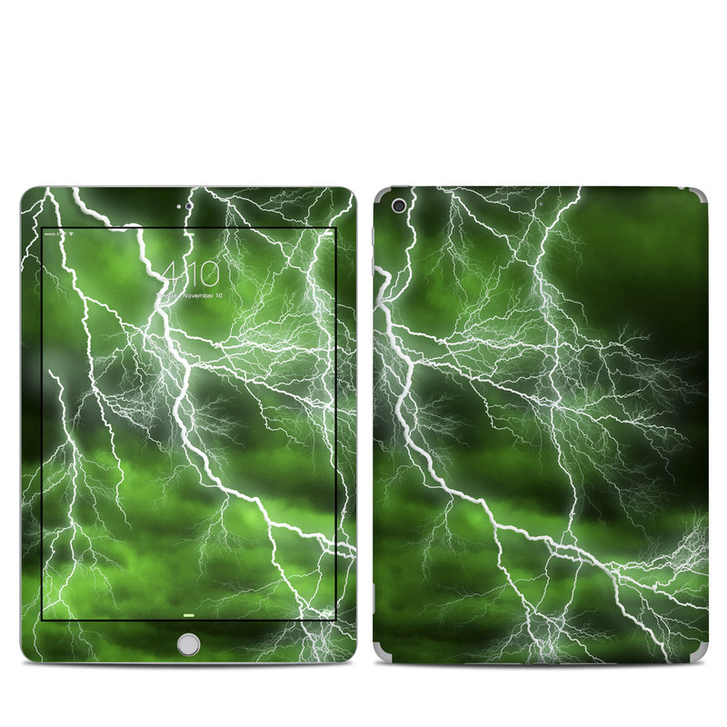 iPad 6th Gen Skin design of Thunderstorm, Thunder, Lightning, Nature, Green, Water, Sky, Atmosphere, Atmospheric phenomenon, Daytime with green, black, white colors
